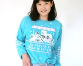 "Vintage 80s Novelty Dog Sweatshirt ""How Much is That Doggie in the Window? "" Aqua Blue Puff Screen Print"