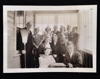 Original Antique Photograph Paper Hat People