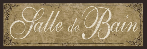French bath decor salle de bain sign earthtone damask for Salle de bain door sign