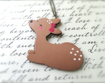 Woodland Deer Necklace. Red Bow. Festive Christmas Jewelry. Holiday. Brass Vintage Style Chain. Wood Jewelry. Under 15 Gifts.