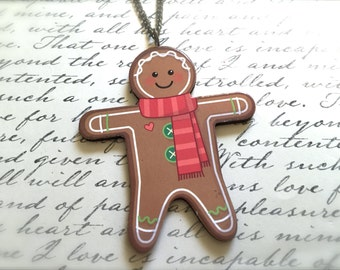 Gingerbread Man Christmas Necklace. Festive Christmas Jewelry. Holiday. Brass Vintage Style. Wood Jewelry. Decorated Cookie. Under 15 Gifts.