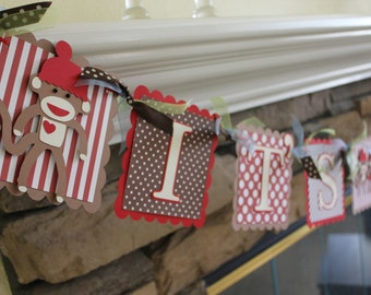 Sock Monkey Baby Boy Banner - Sock Monkey Baby Shower Banner - Sock Monkey Brown and Red - Its A Boy Sock Monkey Banner - Brown and Red Show