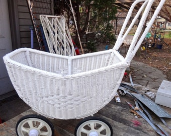 Wicker Stroller, Doll Stroller, Wicker Buggy, Pretend Play, Doll Carriage, Pram, Photo Prop, Victorian Nursery Decor, Baby Shower Decor