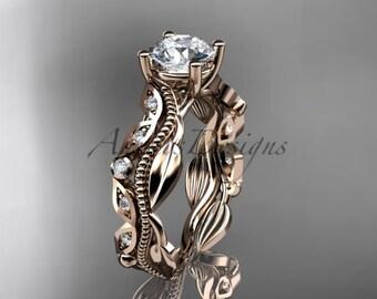 14kt rose gold diamond leaf and vine wedding ring,engagement ring,wedding band  ADLR342