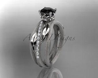 14kt  white gold diamond leaf and vine wedding ring,engagement ring with black diamond center stone,ADLR329