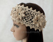 OOAK Irish Lace Crochet Headband Dreadlock Head Wrap beige Boho Wooden Beaded Women Wedding Bridal Cotton Hair Snood