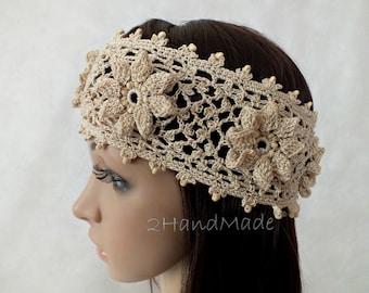 OOAK Irish Lace Crochet Headband Dreadlock Head Wrap beige Boho Wooden Beaded Women Ivory Wedding Bridal Cotton Hair Snood