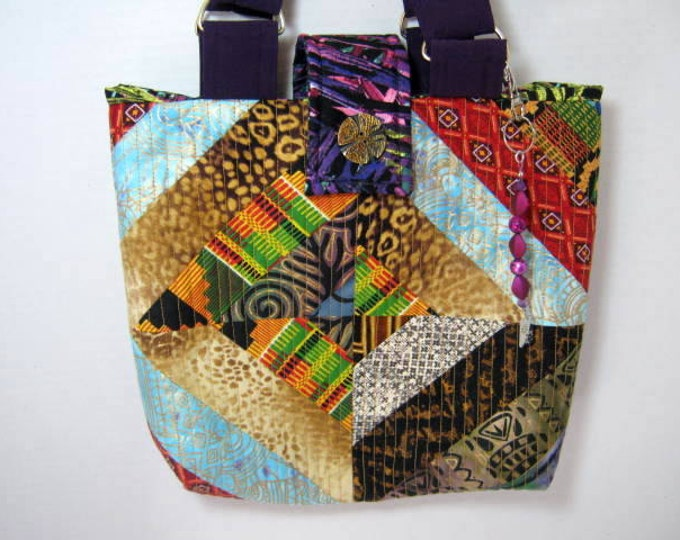 Purple Tribal Yarn Organizer Knitting Crochet Craft Tote, JDCreativeHands