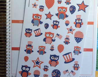 40-50% OFF SALE - 4th of July Owl Planner Stickers, Holiday Planner Stickers, Fourth of July Planner Stickers, set 39
