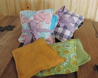 flower sachet for dryer set of 3 - lavender, bay leaf, camomille, dryer sheet,