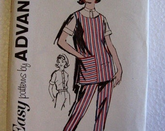 Advance Vintage 1950s Misses Womens Tunic and Tapered Pants Sewing Pattern 2826 Size 14 Uncut UC FF