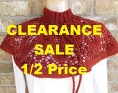 CLEARANCE SALE Knit Shawl Knit Capelet Shoulder Wrap. Carnelian Metallic Red