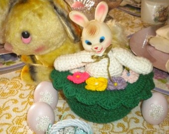 Vintage Rubber Head and Knit Bunny Storage Container, Vintage Easter Decor, Eclectic Easter