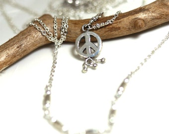 double silver chain necklace with tiny fine silver peace sign and tiny silver beads, multi strand sterling silver layering necklace