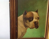 Sale Antique French Signed Oil Painting of a Bulldog on canvas