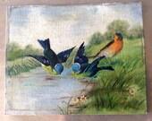Signed  Vintage Folk Art oil on board Bird Painting, France