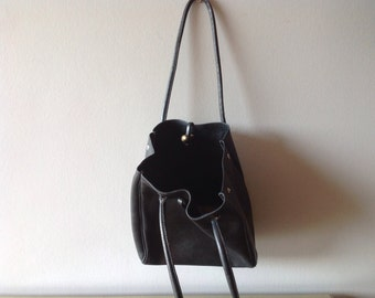 Black Saddle leather Charles et Charlus FRANCE tote bag, vintage