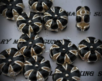 Silver Plated Enamel Flower Beads -BLACK