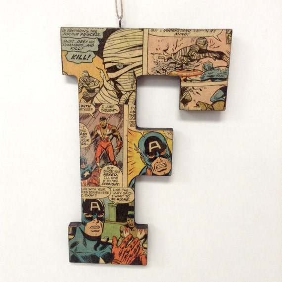 Marvel Wood Wall Decor : Handcrafted comic book block letter f marvel by