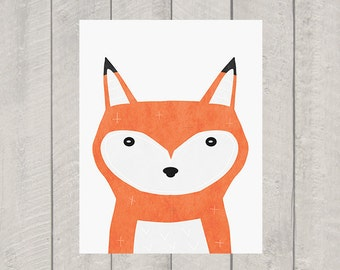 Fox Nursery Art Print - Woodland Animal Art