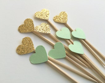 24 Mint & Gold Mini Heart Cupcake Toppers or Food Picks.  Weddings, Bridal Shower or Baby showers.