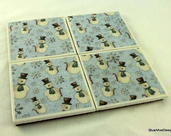 FROSTY Snowmen Holiday Coasters - Set of 4 - water resistant