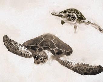 Sea Turtle Art, Turtle Illustration, Sepia Fine Art Print, Turtle Illustration, Coastal Art, Beach Decor, Marine life, Ocean Art