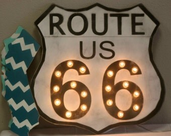 BIG Route 66 Sign Vintage Marquee Lighted Wood… Bar Man Cave Family Room Game Room
