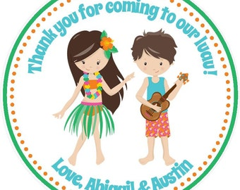 Luau Birthday Party Favor Tags - Twins/Siblings