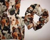 Dog puppy canine Fabric Hair Scrunchie -  Women's Scrunchies, weimaraners, labs retrievers, collies, cockers, spaniels pugs, animal scrunchy