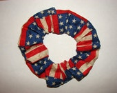 Country American flag patriotic fabric Hair Scrunchie, women's accessories, USA flags america, womans scrunchies, red white and blue, US
