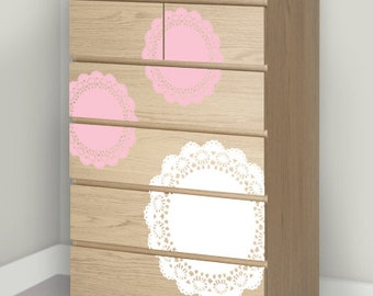 Children Wall Decal - Doily Decals - Upcycled Dresser Makeover - Ikea Hack - Pink and White Vintage Eclectic Nursery