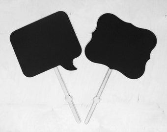 Set of 2 Large Chalkboard on Stick Photobooth Prop Wedding Chalk Board, Reusable Photo Prop Engagement Here Comes the Bride Sign