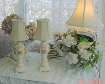 Vintage Porcelain Lamps Florals Bedside Romantic French Shabby Chic