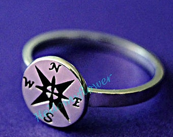 Compass ring, compass jewelry, jewelry compass, sterling silver ring, FREE ENGRAVING, personalized ring, message ring, compass jewelery,