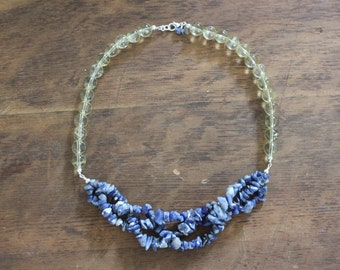 Braided Sodalite and Yellow Quartz Statement Necklace