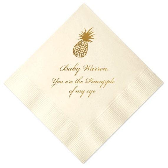 Personalized Pineapple Baby Shower Napkins 1011 From Pinkpoppypartyshoppe On Etsy Studio