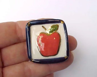 Cute Little Shiny Red Apple Ceramic Brooch