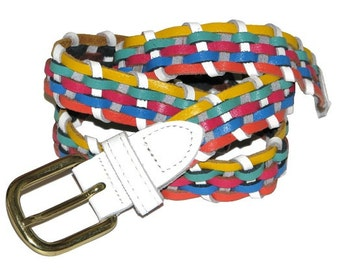 Vintage 80s 90s Colorful Genuine Leather Woven Belt- Made in Argentina- Size M/L