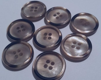 "24 Large Taupe Variegated Pearlized Matching Buttons with Rims for Sewing and Crafts, Sew through - 4 holes, Size 13/16"", 20mm, 32L"