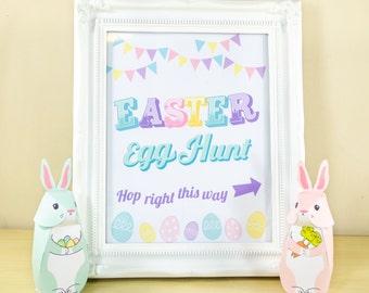 Printable Easter Egg Hunt Sign, Easter Party Printables, Easter Decor, Printable Wall Art, Digital Download