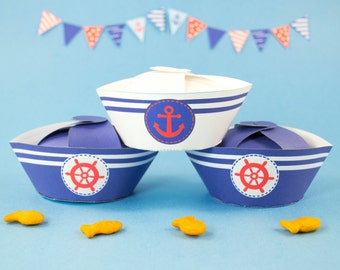 Nautical Party Favor Boxes DIY, Printable Sailor Hat gift boxes, Navy Blue and Red Nautical Birthday Party Favor, Boys Baby Shower favor