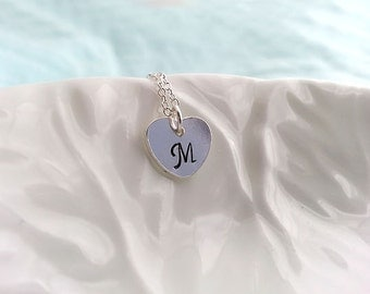 SALE Initial Heart Necklace. Personalized Heart Necklace. Sterling Silver Heart Necklace. Hand Stamped Initial. Silver Heart Jewelry. Dainty