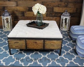 The 48 Tufted Ottoman   Vintage Wood Crates, Vintage Grain Sack Fabric U0026  Metal
