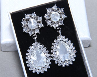 Vintage Style Flower Teardrop Dangle Rhinestone Earrings, Bridal Earrings, Wedding Bridesmaids Stud Earrings, Christmas Gift, Birthday Gift