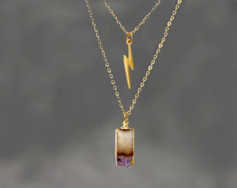 Lightning Bolt Necklace. Rough Amethyst Necklace. Storm Jewelry. Layered Necklace.  NM-1314.