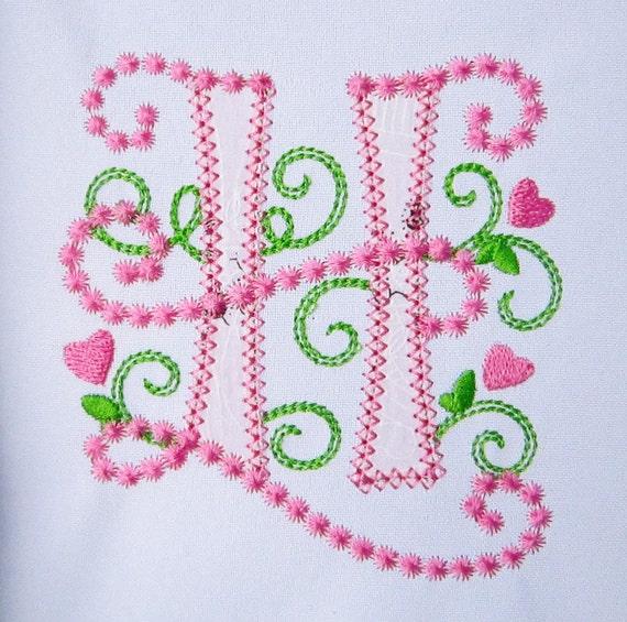 Letter h applique machine embroidery design monogram