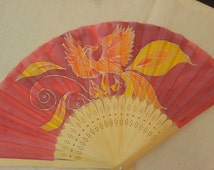 Hand fan -Silk Painted -Natural Wood -Phoenix