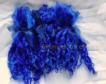 """Long Wool locks Dyed Teeswater Locks 8-10 inches """"Cunning Lapis""""  Lapis Blue"""