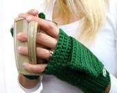 Convertible Fingerless Mittens, Emerald Green Mittens, Convertible Fingerless, Crochet Texting Mittens, Winter Fashion Stylish Gloves,
